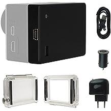 mtb more energy - Zusatzakku (1300 mAh, ersetzt GoPro BacPac 3661-093) + KFZ- und Netz-Adapter für GoPro Hero3+ und Hero4 Black, White, Silver, Surf & Music Edition