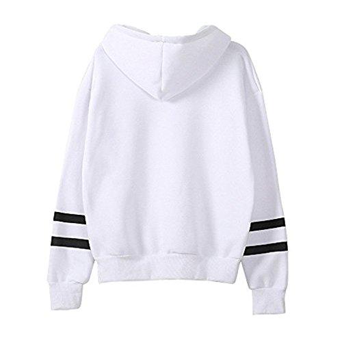 QQI Sweatshirt Capuche Femme, Pull Femme imprimé Licorne Blanc Sweat Manches Longues Tops Blanc