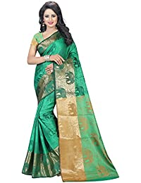 SATYAM WEAVES WOMEN'S ETHNIC WEAR POLYCOTTON SAREE WITH BLOUSE PIECE.(HATHI) (GREEN)