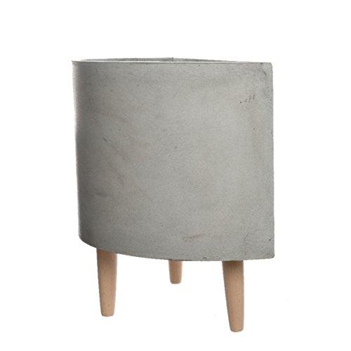 Halbrunde Schale aus Fiberglas zum Bepflanzen oder Dekorieren   mit Holzfüßen   hellgrau   verschiedene Größen (50x25x42 cm)