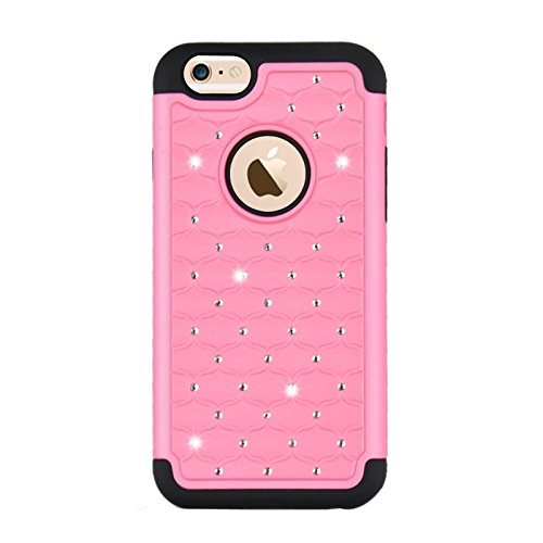 Starry Pattern Dual Layer Silikon + Kunststoff Kombination Gehäuse Rückseite für iPhone 6 Plus & 6S Plus by diebelleu ( Color : Black ) Pink