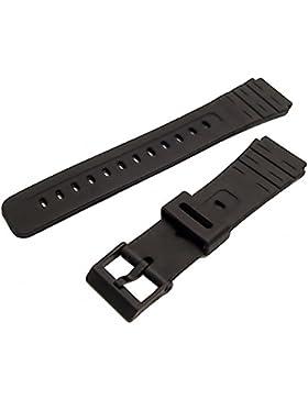 Ersatz Uhrenarmband 18mm Schwarz Kunstharz zu passen Casio mrw80m, mrw81, MW31, MW82, w84K, W59