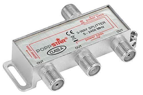 Poppstar Sat-Verteiler 3-Fach (analog/digital-tauglich), 100dB, 5-2450 MHz