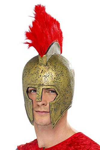 Kostüm Perseus Gladiator - Perseus Gladiatorhelm Gold mit rotem Helmbusch, One Size