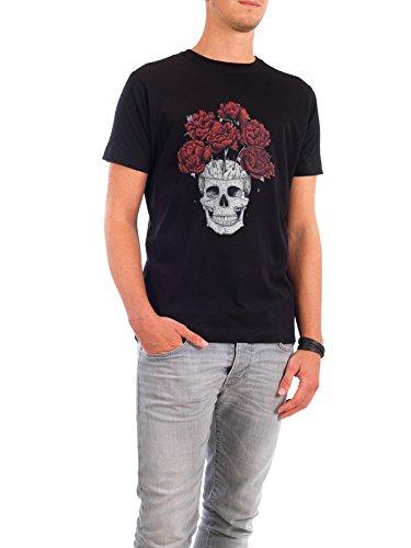 """Design T-Shirt Männer Continental Cotton """"Skull with peonies"""" - stylisches Shirt Natur Menschen Streetart von Valeriya Korenkova Schwarz"""
