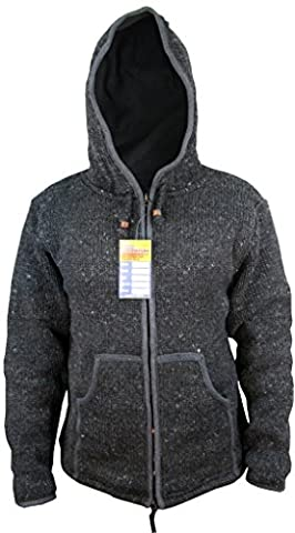 Natural Woolen Knitted Hand Made Sherpa Jacket Jumper Hoodie Charcoal