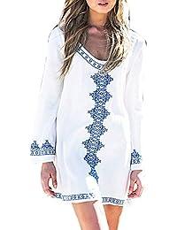 Mengyu Blusa con Cuello Redondo para Mujer Traje de Baño Vestido de Playa