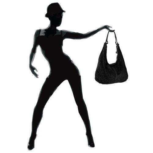CASPAR TL617 Damen Vintage Veloursleder Tasche / Handtasche / Hobo Bag / Shopper Schwarz