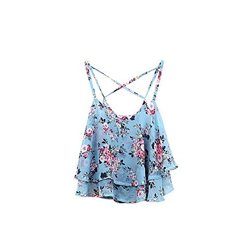 Yalatan Chiffon Spaghetti Strap Floral Vest Shirt Women Sexy Tanks Tops Camisole Blue
