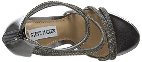 Steve Madden Sweetest, Sandali con Cinturino Alla Caviglia Donna Argento (Pewter)