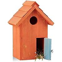 Relaxdays 10020734_57 Nido Artificiale Casetta per Uccelli in Legno, da Appendere, Porta Piccola Apertura HLP: 24,3 x 17 x 12 cm, Arancio