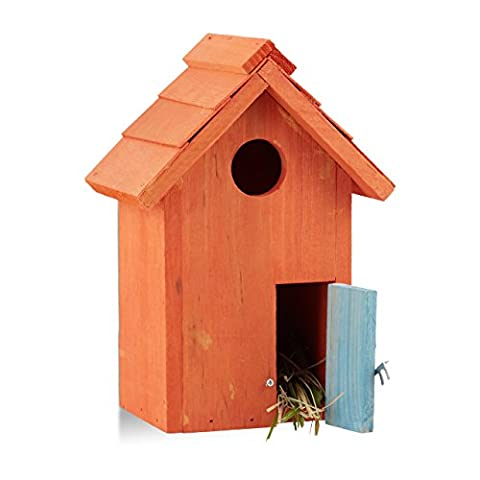 Relaxdays Nistkasten, Vogelhäuschen, Holz, Tür, aufhängen, kleines Flugloch, Singvögel, HBT: