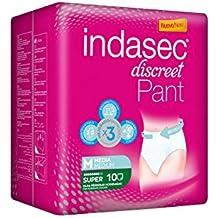 Indasec - Ropa interior absorbente, talla media, absorción súper, 10 pants