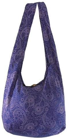 Blue Violet Cotton Printed Standing Coral Crossbody Shoulder Hippie Boho