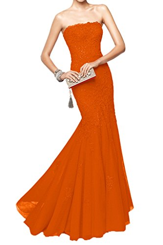Victory Bridal 2015 Neu Rot Spitze Pailletten Meerjungfrau Abendkleider Ballkleider Festlichekleider Orange