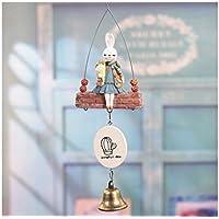 Blueqier Decoración Colgante Conejo de Dibujos Animados Paisaje Jardín Decoración de la habitación Kid al Aire Libre Campanilla de Viento Campana Adorno de casa