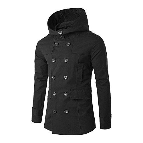 WPEW-Men's Coats Hommes Double-Breasted Windbreaker Pure Couleur Cent Tours Manteau Coupe-Vent à Capuche décontracté