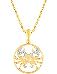 Silvernshine New D/VVS1 Diamond Cancer Zodiac Pendant Necklace In 14K Yellow Gold Fn