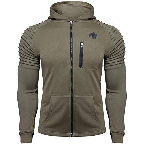 GORILLA WEAR Delta Hoodie - Fitness und Bodybuilding Zip Hoodie Grün XL