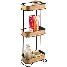 mDesign Serviteur de douche à suspendre de 3 paniers – Installation de l'étagère de douche sans perçage – Panier de douche – Métal inoxidable & Bois – Pour tous les accessoires de douche