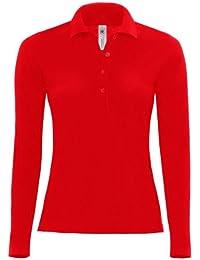 B&C Damen Polo Shirt Safran Langarm (M - 38) (Rot)
