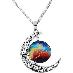 Collar Media Luna con Universo de Plata