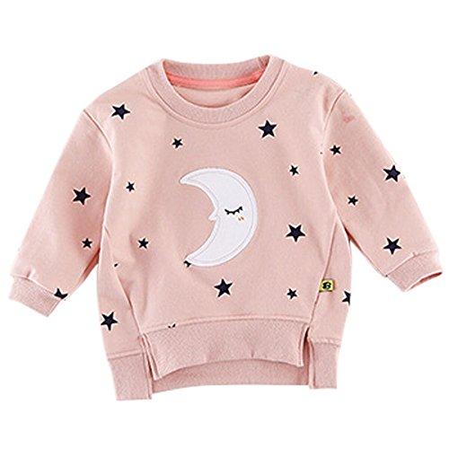 Mond Altes Shirt (Bebone Baby Mädchen Langarmshirt 1-3 Jahre Alt Kinder Mond Stern Sweatshirt (Rosa, 12 Monate))