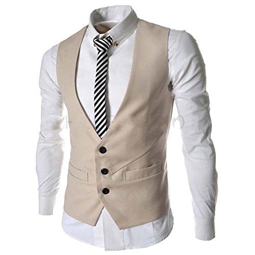 Liqy Herren Weste schwarz schwarz Medium Gr. XX-Large, beige (Double Breasted Classic Anzug)
