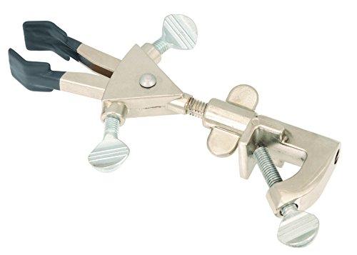2Zinken chemikalienbeständig PVC beschichtetes Universal Clamp mit bosshead für große Ruten (bis 21mm Dia.)–Dual Anpassungen, dreht 360Grad