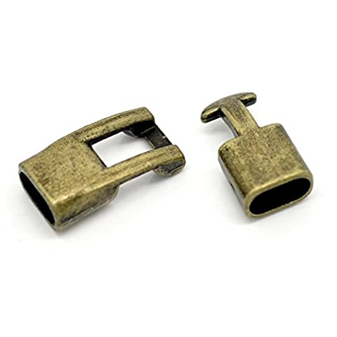 SODIAL(R) 5 Fermoirs Toggles Couleur Bronze 24x12mm Pour Bracelet Cuir-Bijoux Accessoires
