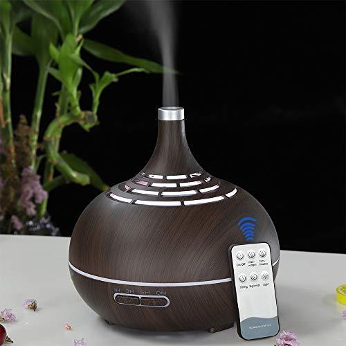 DEPNEE Diffusore di grano bianco a distanza in legno Diffusore di aromaterapia 400 ml a 7 luci notturne a LED a colori che cambiano con il timer Umidificatore a nebbia fredda