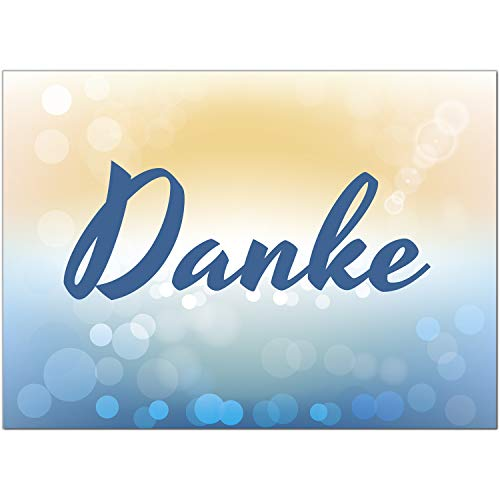 15 x Dankeskarten mit Umschlag - blau gelb Verlauf schön edel schlicht - Danksagungskarten, Danke sagen, nach Hochzeit, Geburt, Baby, Taufe, Geburtstag, Kommunion, Konfirmation, Jugendweihe