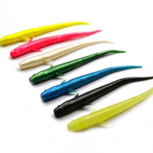 F-blue 10pcs Poissons Bionic Appâts PVC Souple Loach Appâts Poisson Leurres 7cm 1 g (Couleur aléatoire)