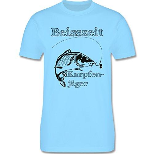 Angeln - Beisszeit Karpfenjäger - Herren Premium T-Shirt Hellblau