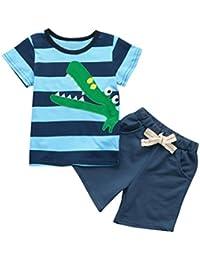 Fossen Ropa Niño Bebe 1-6 Años Verano Conjuntos Dibujos Animados de cocodrilo Animal Camiseta