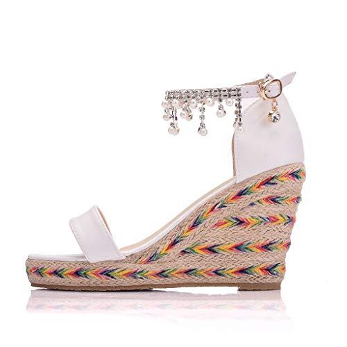 Lilicat Sandali Donna Moda con Cinturino Romani Tonda Dolce Casual Zeppa Piattaforma Eleganti Estivi Sandals Scarpe Casual con Sandali Intrecciati Frange Sandali (Bianca A,42 EU)