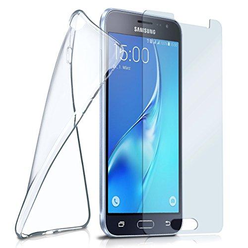 moex Silikon-Hülle für Samsung Galaxy J3 (2016) | + Panzerglas Set [360 Grad] Glas Schutz-Folie mit Back-Cover Transparent Handy-Hülle Samsung Galaxy J3 2016 Case Slim Schutzhülle Panzerfolie