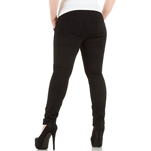 Damen Hose, ÜBERGRÖßEN TREGGINGS CHINO HOSE, KL-J-68073 Schwarz