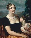 Kunstdruck/Poster: Giuseppe Bezzuoli Elisa Baciocchi mit Tochter/Bezzuoli - hochwertiger Druck, Bild, Kunstposter, 75x90 cm