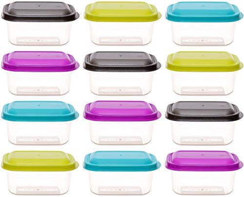 idea-station Vorratsdosen-Set mit Deckel 12 Stück, 250 ml, bunt, eckig, stapelbar, Tiefkühldosen, Frischhaltedosen, Aufbewahrungsboxen, spülmaschinenfest, mikrowellenfest