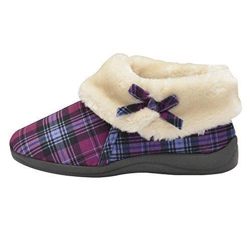 Womens Dunlop Bessie Kunstpelz Kragen Ankle Hausschuhe Stiefel - Violett Kariert, 5 UK / 38 EU