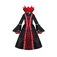 yolsun Vampire Costume for Girls, Noble Medieval Queen Halloween Dress up(6-8 Years) Black/Red