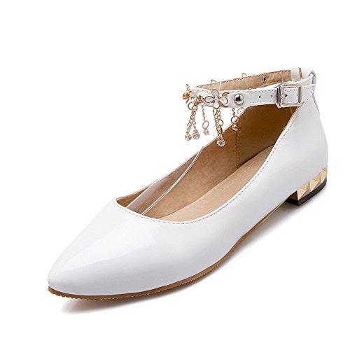 VogueZone009 Femme Pu Cuir à Talon Bas Pointu Mosaïque Boucle Chaussures Légeres Blanc