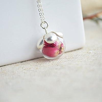 Rouge Rose Réelles Fleurs Verre Boule 925 Sterling Argent Collier 45cm Longueur Amour Romantique