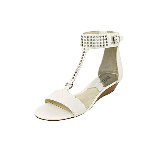 Michael Michael Kors Celena Wedge Cuir Sandales Compensés Optic White