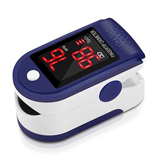 FKANT Saturimetro Professionale Pulsossimetro da Dito con Display LCD, Cordino, Sacchetto di Stoccaggio per La Saturazione di Ossigeno (SpO2) e Frequenza del Polso (PR) Misure
