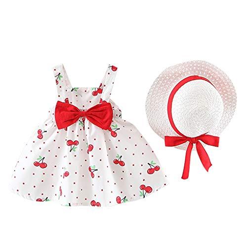 Pwtchenty Kleidung Set Kleid Damen Sommer Elegant Baby Neugeborene Mädchen Kurzarm Kirsche Dot Bogen Prinzessin Dress+Hut Outfits Set - Shorts Gold Bow Kleid