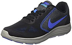 Nike Revolution 3 Herren Turnschuhe, Schwarz (Black / Medium Blue / Cool Grey / Photo Blue), 45.5 EU