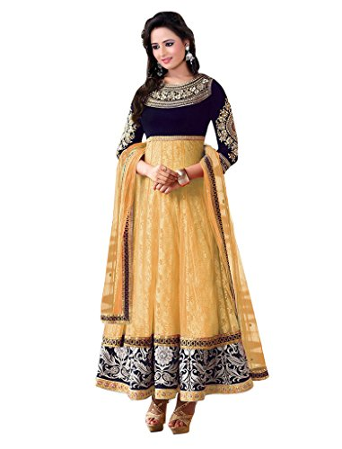 1 Stop Fashion Cream & Blue Semi-Stitched Velvet & Net Salwar Suit  available at amazon for Rs.779