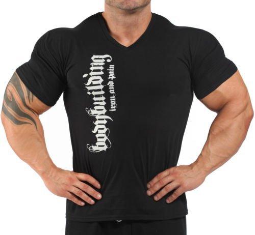 Image of Mens Iron & Pain V Neck T-Shirt Black L
